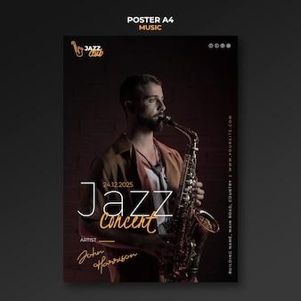 Modelo de impressão de concerto de jazz
