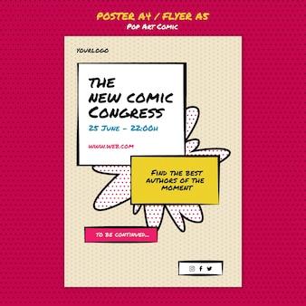 Modelo de impressão de congresso em quadrinhos