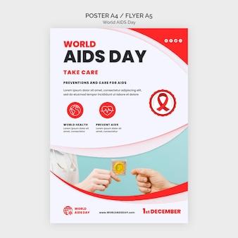 Modelo de impressão de conscientização do dia da aids