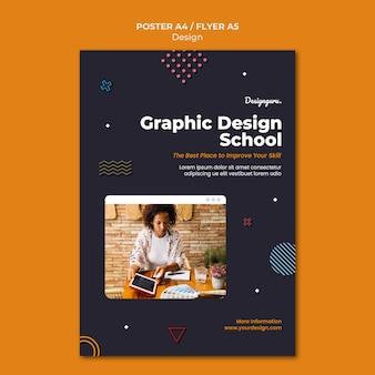 Modelo de impressão de design gráfico com foto