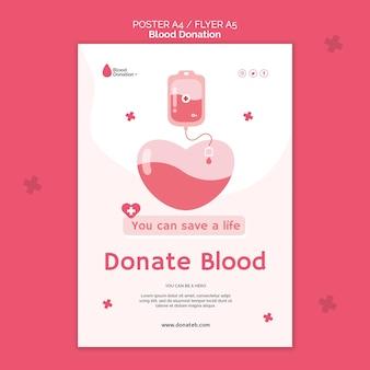 Modelo de impressão de doação de sangue ilustrado