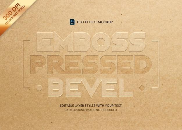 Modelo de impressão de efeito de texto chanfrado pressionado