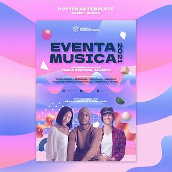 Modelo de impressão de evento musical em estilo retro