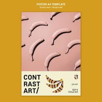 Modelo de impressão de exposição de arte inspirado em contraste