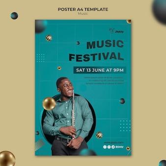 Modelo de impressão de festival de música jazz