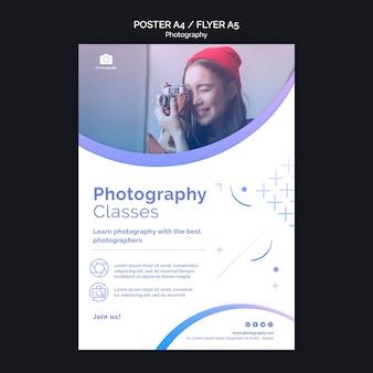 Modelo de impressão de folheto de aulas de fotografia