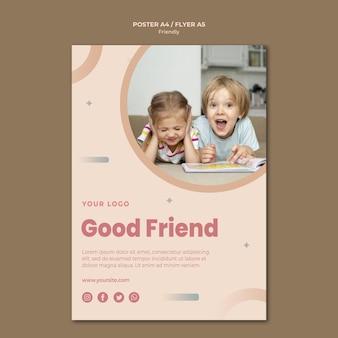 Modelo de impressão de folheto de bom amigo