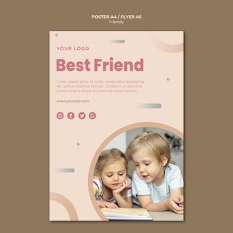 Modelo de impressão de folheto dos melhores amigos