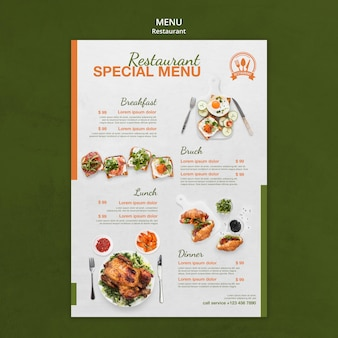 Modelo de impressão de menu especial de restaurante