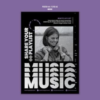 Modelo de impressão de música com foto