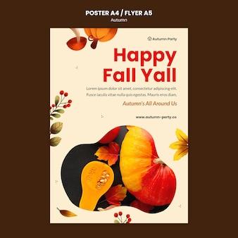 Modelo de impressão de outono com foto