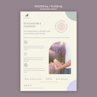Modelo de impressão de panfleto de moda sustentável lavanda
