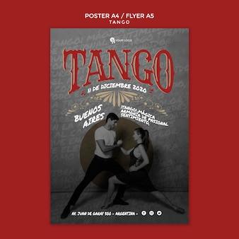 Modelo de impressão de panfleto de poses de tango