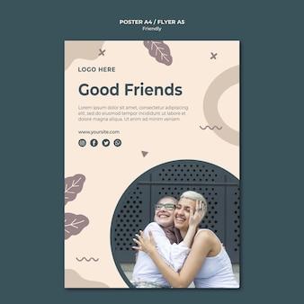 Modelo de impressão de pôster de bons amigos