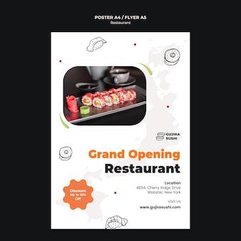 modelo de impressão de pôster de inauguração do restaurante de sushi