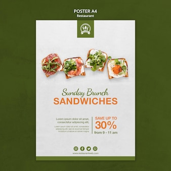 Modelo de impressão de pôster de restaurante com sanduíches brunch