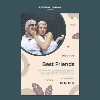 Modelo de impressão de pôster dos melhores amigos