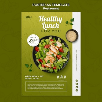 Modelo de impressão de restaurante de comida saudável