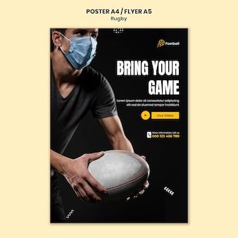 Modelo de impressão de rugby com foto