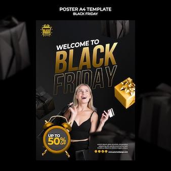 Modelo de impressão de sexta-feira negra com detalhes dourados