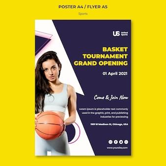 Modelo de impressão de torneio de basquete