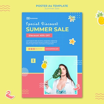 Modelo de impressão de vendas de verão