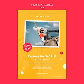 Modelo de impressão de viagem com foto