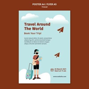 Modelo de impressão de viagem ilustrado
