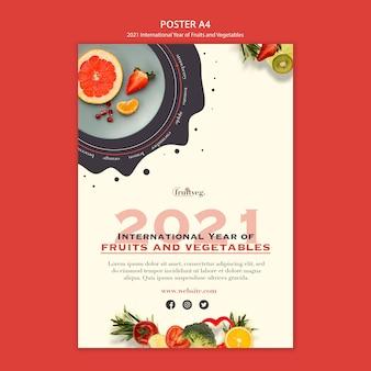 Modelo de impressão do ano de frutas e vegetais