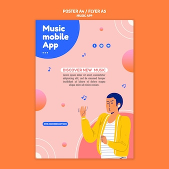 Modelo de impressão do aplicativo móvel de música