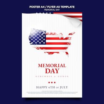 Modelo de impressão do dia da memória com bandeira
