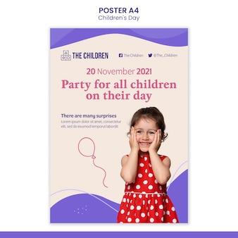 Modelo de impressão do dia das crianças fofas