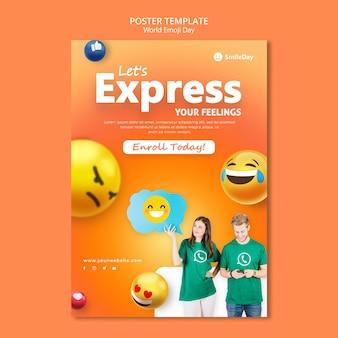 Modelo de impressão do dia de emoji Psd grátis