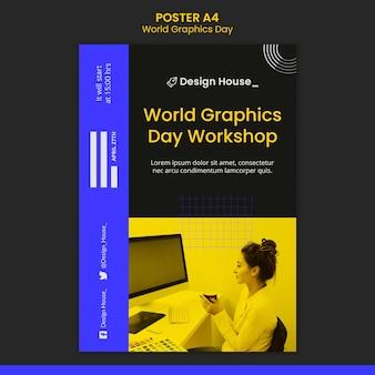 Modelo de impressão do dia mundial dos gráficos