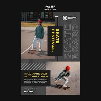 Modelo de impressão do festival de skate
