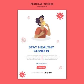 Modelo de impressão informativo do coronavirus