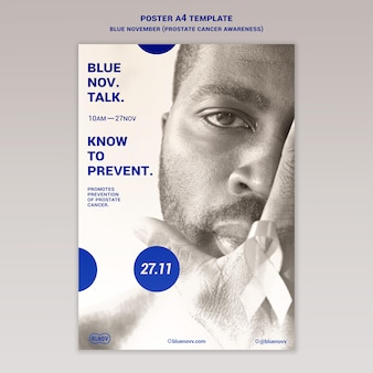 Modelo de impressão vertical azul de novembro