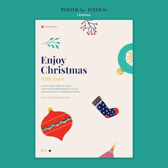 Modelo de impressão vertical de feliz natal ilustrado