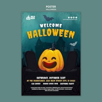 Modelo de impressão vertical de halloween com abóbora