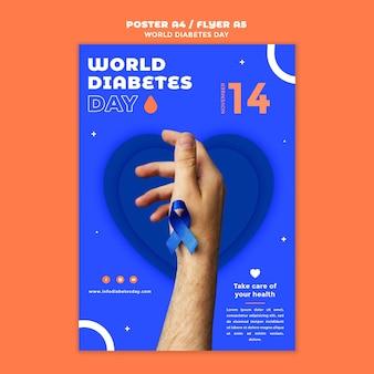 Modelo de impressão vertical do dia mundial da diabetes