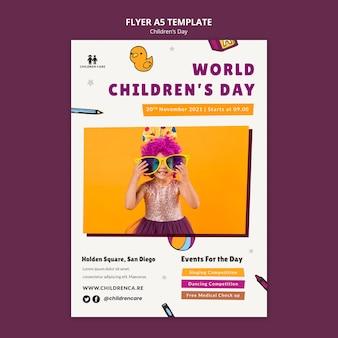 Modelo de impressão vertical para o dia das crianças