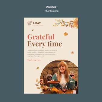 Modelo de impressão vertical para o dia de ação de graças