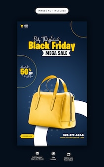 Modelo de instagram de mega venda black friday e banner de história do facebook