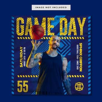 Modelo de instagram de mídia social de basquete gameday