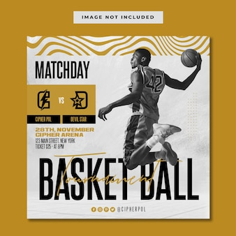 Modelo de instagram de mídia social para torneio de basquete