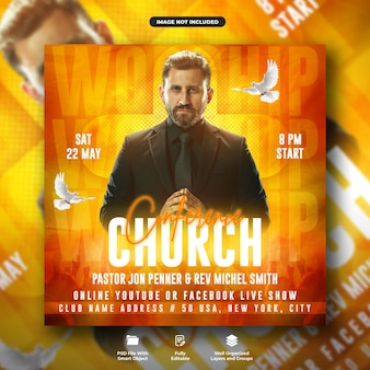 Modelo de instagram de panfleto de conferência de igreja para mídia social