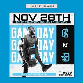 Modelo de instagram do dia do jogo de basquete