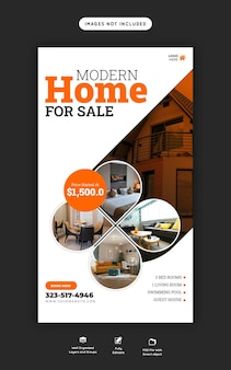Modelo de instagram e história do facebook de imóveis para casas