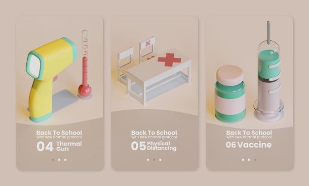 Modelo de interface de usuário de volta às aulas com pistola térmica, mesa de sala de aula e renderização 3d de vacina