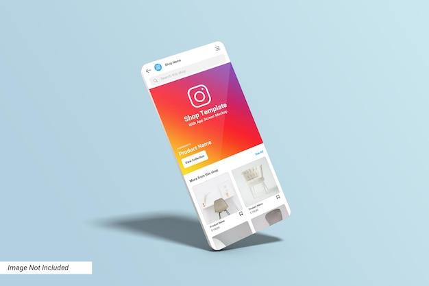 Modelo de interface do usuário da loja do instagram na simulação da tela do aplicativo